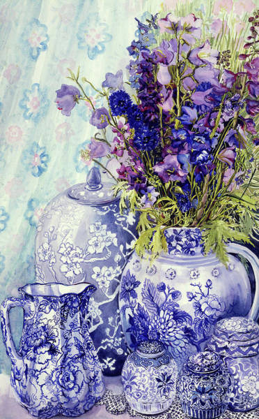 Bunch Painting - Delphiniums With Antique Blue Pots by Joan Thewsey
