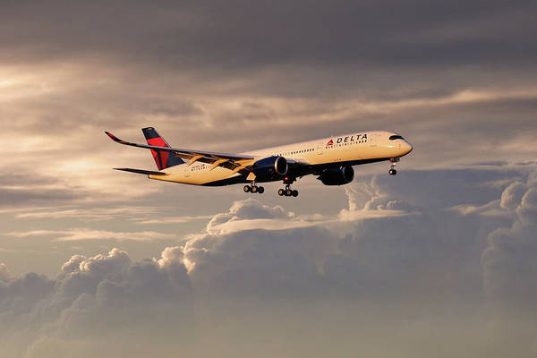 Delta Air Lines Wall Art - Digital Art - Delta Air Lines - Airbus A350-941 - N503dn by J Biggadike