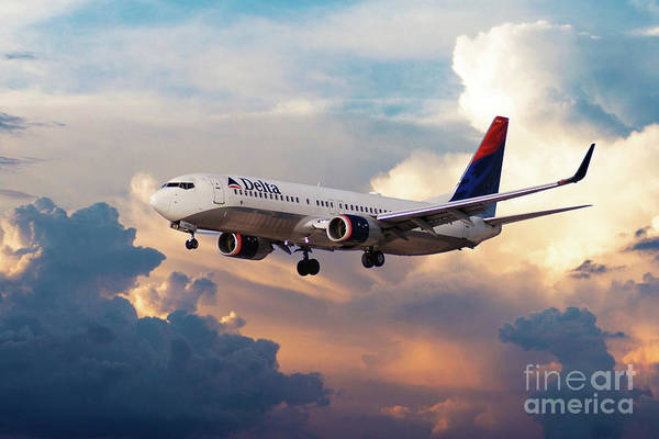 Delta Air Lines Wall Art - Digital Art - Delta Air Lines, Boeing 737-800, N3754a by J Biggadike