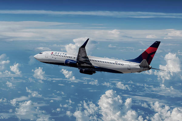 Delta Air Lines Wall Art - Mixed Media - Delta Air Lines Boeing 737-800 Banking Toward The Clouds by Erik Simonsen