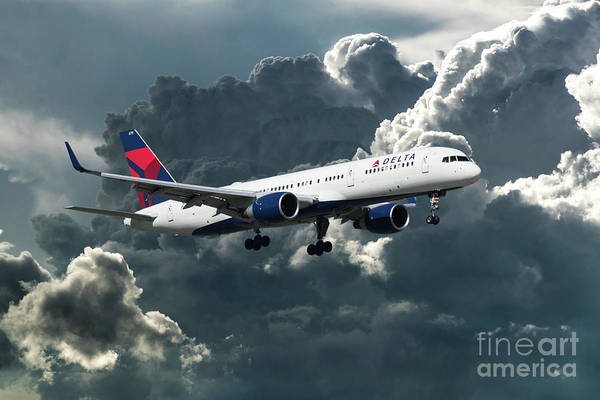 Delta Air Lines Wall Art - Digital Art - Delta Air Lines Boeing 757-26d by J Biggadike