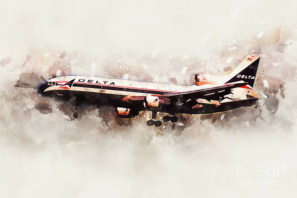 Delta Air Lines Wall Art - Digital Art - Delta Air Lines Lockheed L-1011 Tristar by J Biggadike