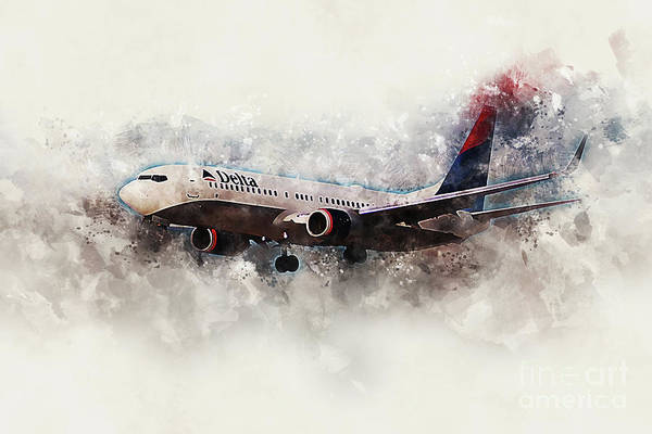 Delta Air Lines Wall Art - Digital Art - Delta Boeing 737-800 Painting by J Biggadike