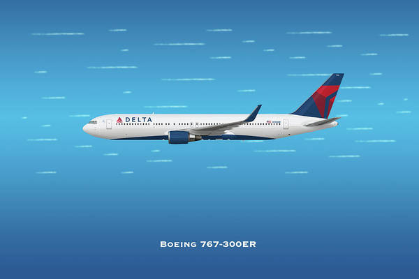 Delta Air Lines Wall Art - Digital Art - Delta Boeing 767-300er by J Biggadike