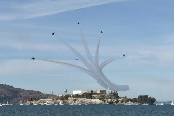 Wall Art - Painting - Delta Breakout Over Alcatraz Island by Celestial Images