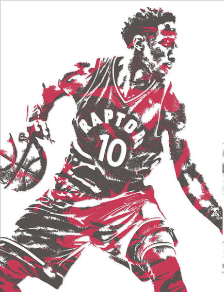Nba Mixed Media - Demar Derozan Toronto Raptors Pixel Art 6 by Joe Hamilton