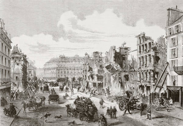 Wall Art - Drawing - Demolition Of Buildings In The Rue De by Vintage Design Pics
