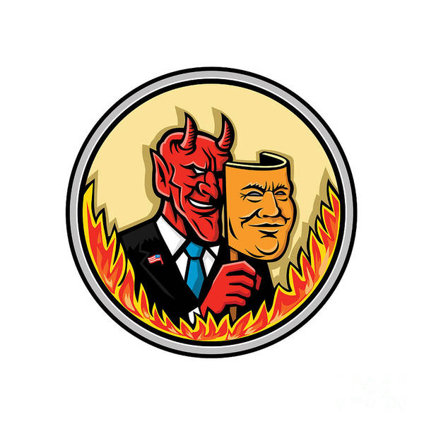 Capitalism Digital Art - Demon Holding Mask With Flames Mascot by Aloysius Patrimonio