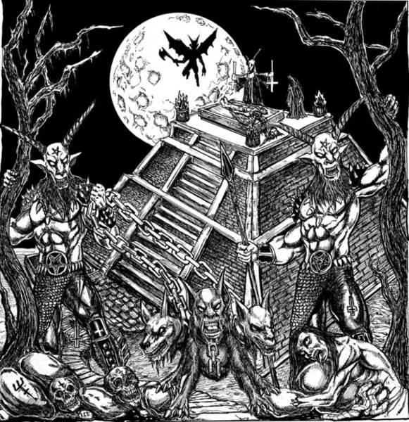 Demonic Drawing - Demon Temple by Alaric Barca