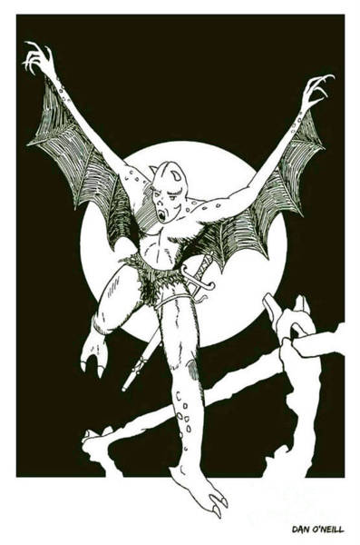 Sorcery Drawing - Demon Warrior by Dan O'Neill