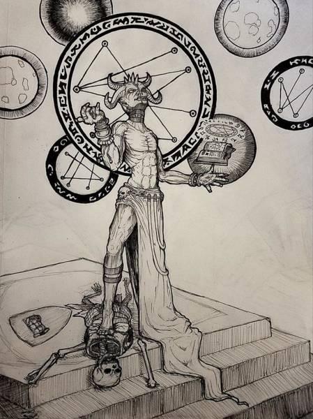 Sorcery Drawing - Demonic Ritual by Nygel Burdick