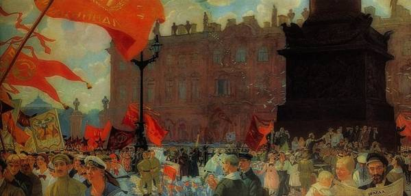 Sickle Painting - Demonstration In The Uritskly Square by Boris Kustodiev