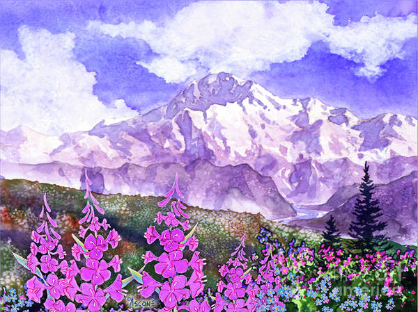 Wall Art - Painting - Denali With Fireweed by Teresa Ascone