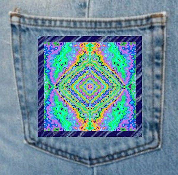 Digital Art - Denim Pocket Art Flowing Life 1 by Julia Woodman
