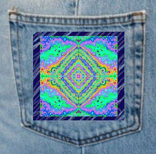 Digital Art - Denim Pocket Art Flowing Life B by Julia Woodman