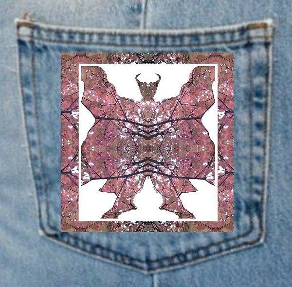 Photograph - Denim Pocket Horned Man A - Made From Tree Leaves Photo 801 by Julia Woodman