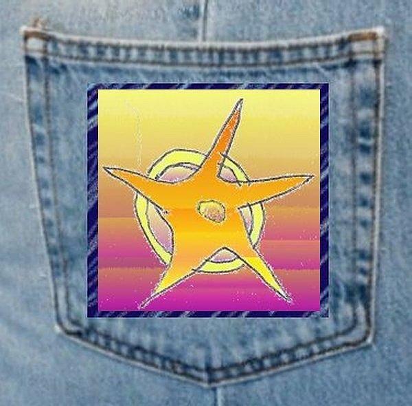 Drawing - Denim Pocket Star by Julia Woodman