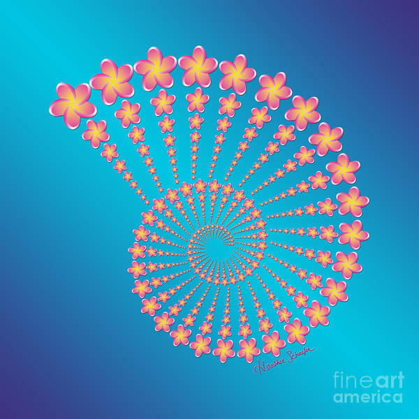 Digital Art - Denise's Frangipani  Spiral Shell by Heather Schaefer