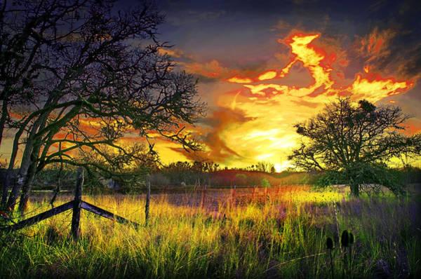 Rogue Valley Photograph - Denman Sunset Fence by Dale E Daniel Landscape Photography