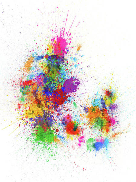 Wall Art - Digital Art - Denmark Paint Splashes Map by Michael Tompsett