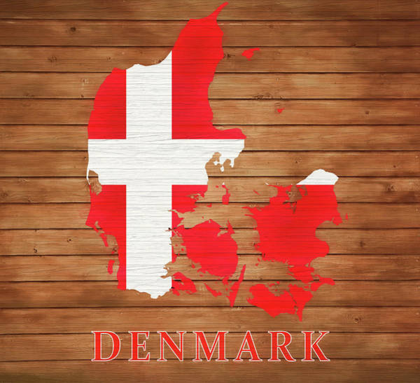 Traveler Mixed Media - Denmark Rustic Map On Wood by Dan Sproul