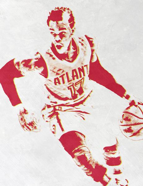 Wall Art - Mixed Media - Dennis Schroder Atlanta Hawks Pixel Art by Joe Hamilton