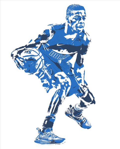 Mavericks Mixed Media - Dennis Smith Jr Dallas Mavericks Pixel Art 4 by Joe Hamilton