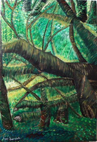Wall Art - Painting - Dense Forrest by Angelo Ingargiola
