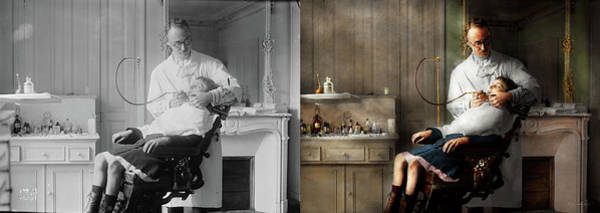 Photograph - Dentist - Good Oral Hygiene 1918 - Side By Side by Mike Savad