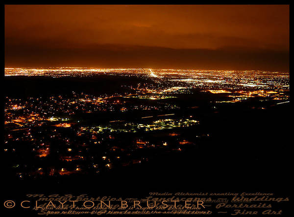 Denver Area At Night From Lookout Mountain Art Print
