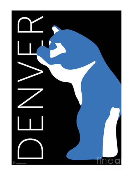 Digital Art - Denver Blue Bear/black by Sam Brennan