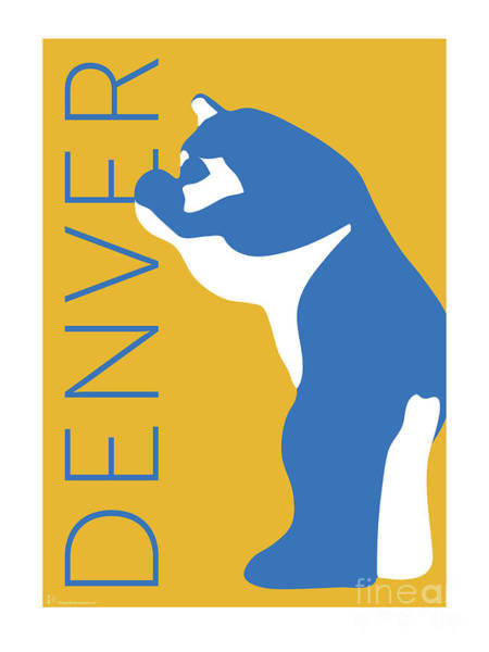 Digital Art - Denver Blue Bear/gold by Sam Brennan