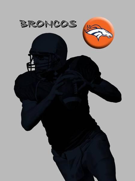 Digital Art - Denver Broncos Football by David Dehner