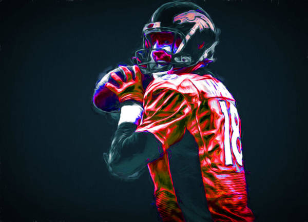 Photograph - Denver Broncos Peyton Manning Digitally Painted by David Haskett II