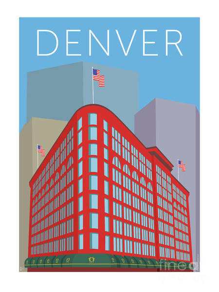 Digital Art - Denver Brown Palace/blue by Sam Brennan