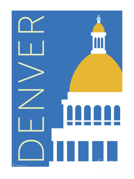 Digital Art - Denver Capitol/blue by Sam Brennan