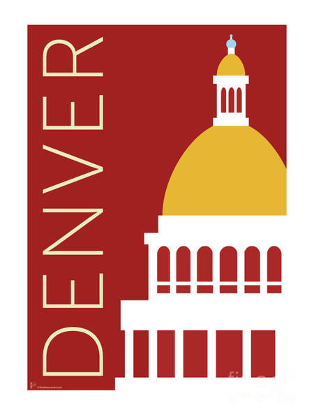 Digital Art - Denver Capitol/maroon by Sam Brennan