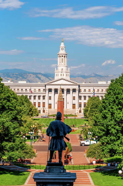 Photograph - Denver Capitol Mile High Mountain View  by Gregory Ballos