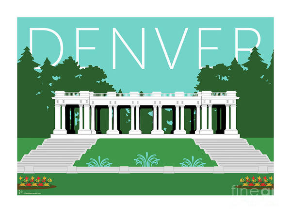 Digital Art - Denver Cheesman Park/lt Blue by Sam Brennan