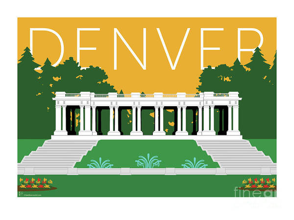 Digital Art - Denver Cheesman Park/gold by Sam Brennan
