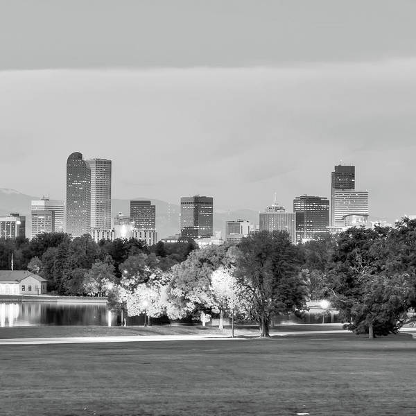 Denver Zoo Photograph - Denver City Skyline In Black And White by Gregory Ballos
