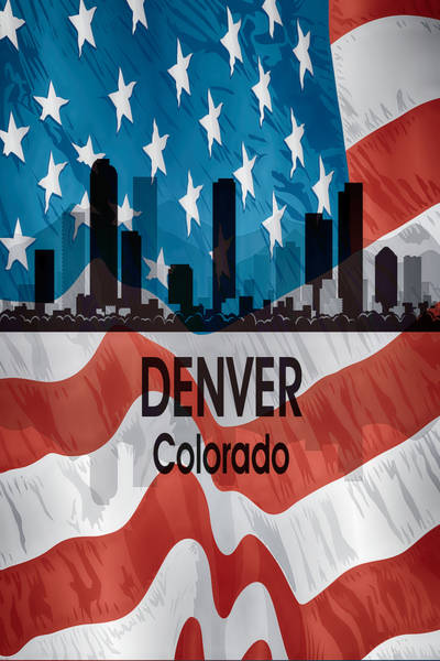 Wall Art - Digital Art - Denver Co American Flag Vertical by Angelina Tamez