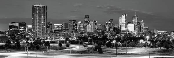 Photograph - Denver Co Dawn Bw Panorama by Gregory Ballos
