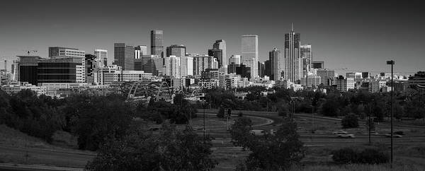 Mile High City Photograph - Denver Co Skyline B W by Steve Gadomski