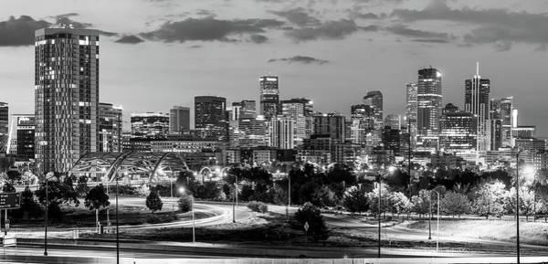 Photograph - Denver Colorado Bw Skyline Panorama by Gregory Ballos