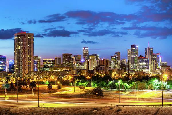 Photograph - Denver Colorado City Skyline At Dawn by Gregory Ballos