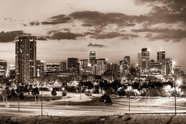Photograph - Denver Colorado City Skyline At Dawn - Sepia by Gregory Ballos