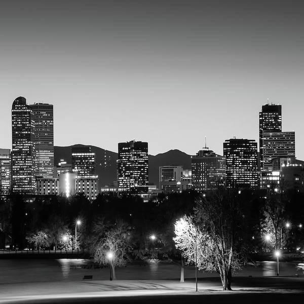 Photograph - Denver Colorado Monochrome Bw Mountain Skyline 1x1 by Gregory Ballos