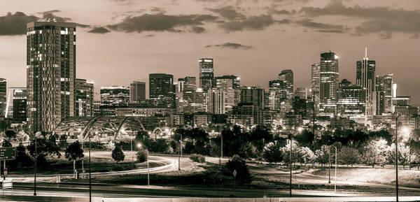 Photograph - Denver Colorado Sepia Skyline Panorama by Gregory Ballos