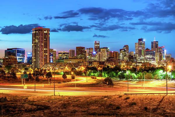 Photograph - Denver Colorado Skyline At Dawn by Gregory Ballos